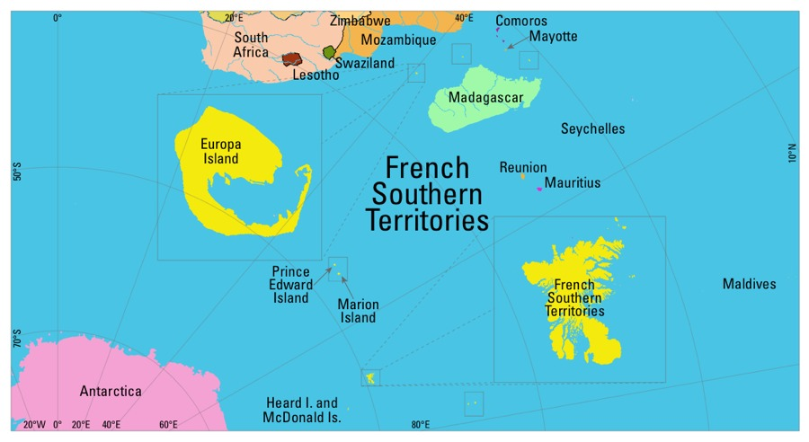 Map of French Southern and Antarctic Territories