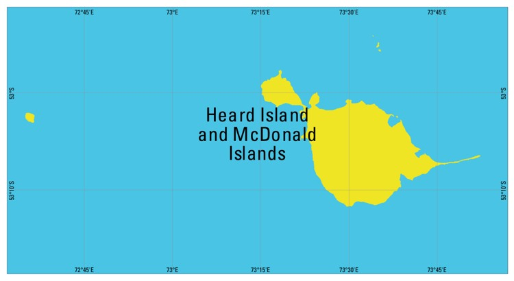 Map of Heard Island and McDonald Islands