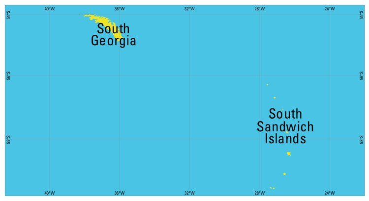 Map of South Georgia and the South Sandwich Islands