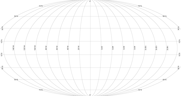 A map of the world showing the lines of latitude and longitude