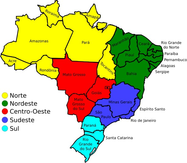 Map of Brazil's time zones