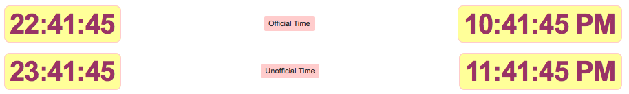 Image of official and unofficial times