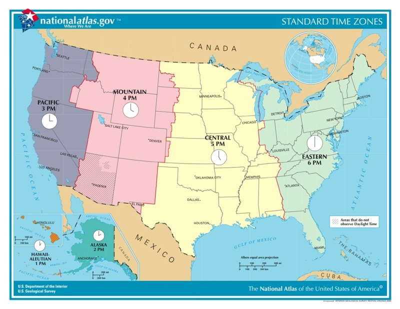 Time Zones In The United States USA Time Genies Encyclopedia - Map showing us time zones