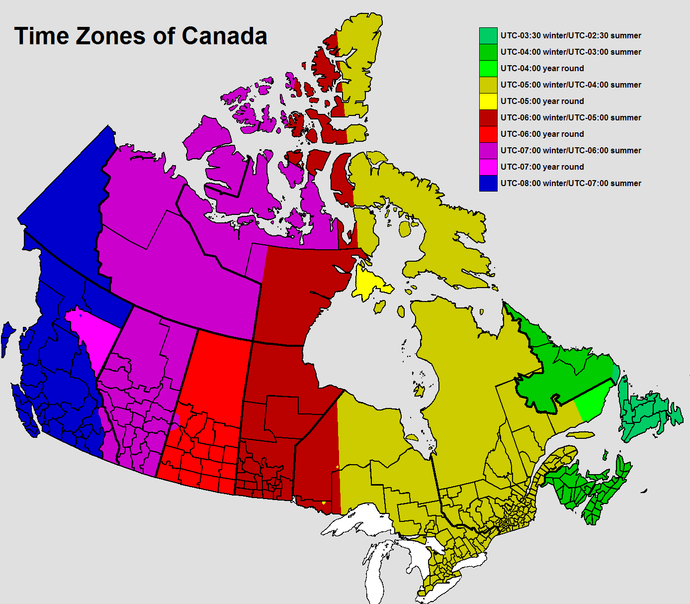 Time Zones In British Columbia  Time Genies Encyclopedia - Map showing us time zones