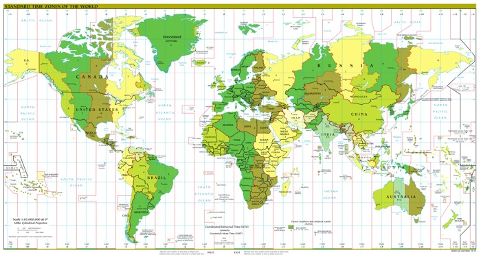 Standard time zone map of the world